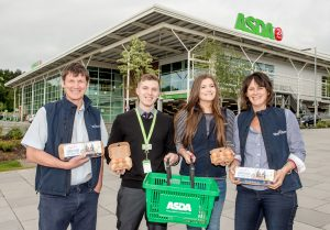 Tony, Helen & Ali Heal of Heal's Free Range Eggs join Telford's Asda Produce Manager Paddy Cumming to launch their newly stocked products in the Telford store.
